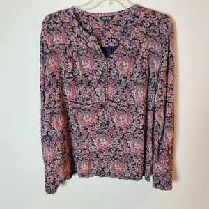 Lucky Brand Pink Navy Paisley Boho Peasant Blouse